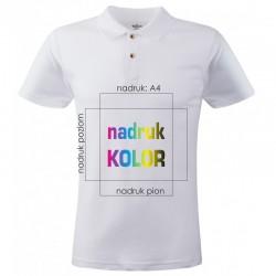 Koszulka biała POLO z nadrukiem A4 DTG PREMIUM