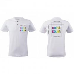 Koszulka z nadrukiem biała POLO logo+A4 DTG PREMIUM