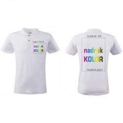 Koszulka z nadrukiem biała POLO logo+A3 DTG PREMIUM