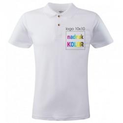 Koszulka biała POLO z nadrukiem 10x10 DTG PREMIUM